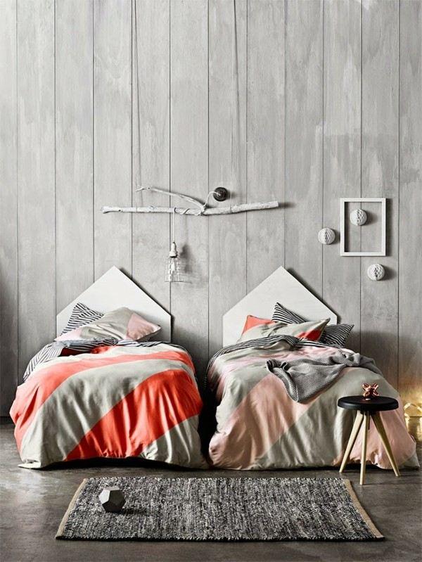 cuarto doble dos camas gris