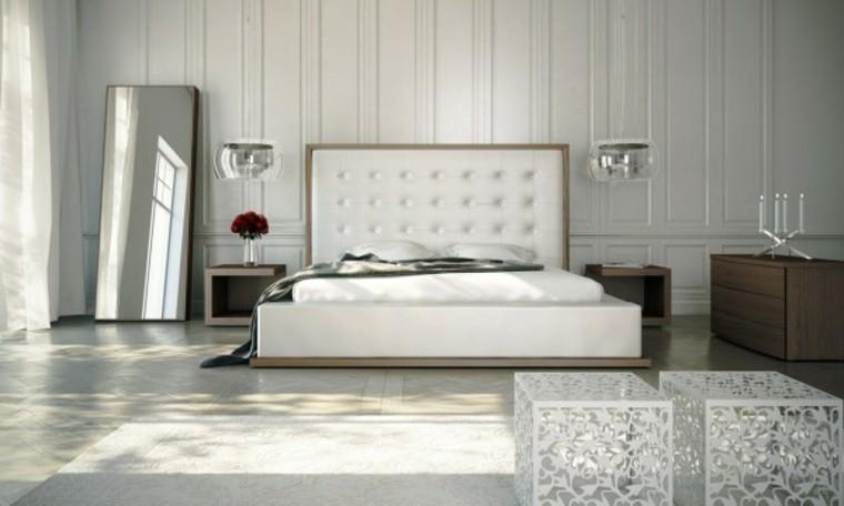 cuarto dormitorio blanco luz espejo
