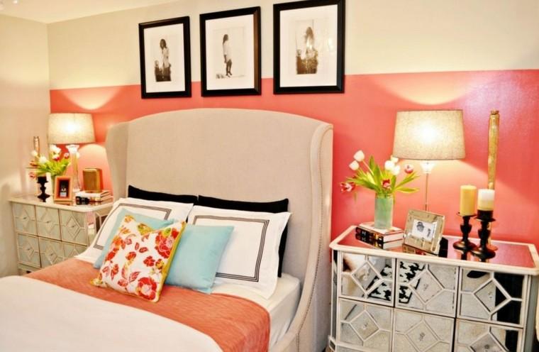 cuarto dormitorio colores salmón blanco