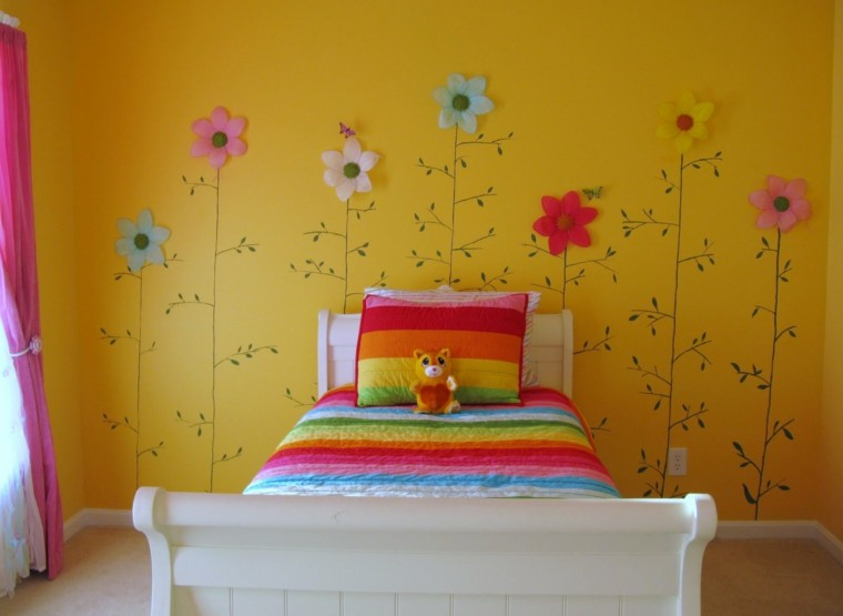 cuarto dormitorio infantil amarillo flores