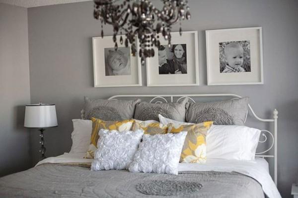 cuarto gris cama blanca cojines