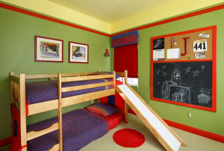 cuarto-infantil literas verde lima