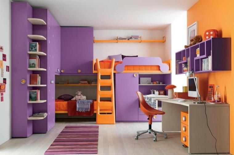 cuarto infantil morado naranja literas