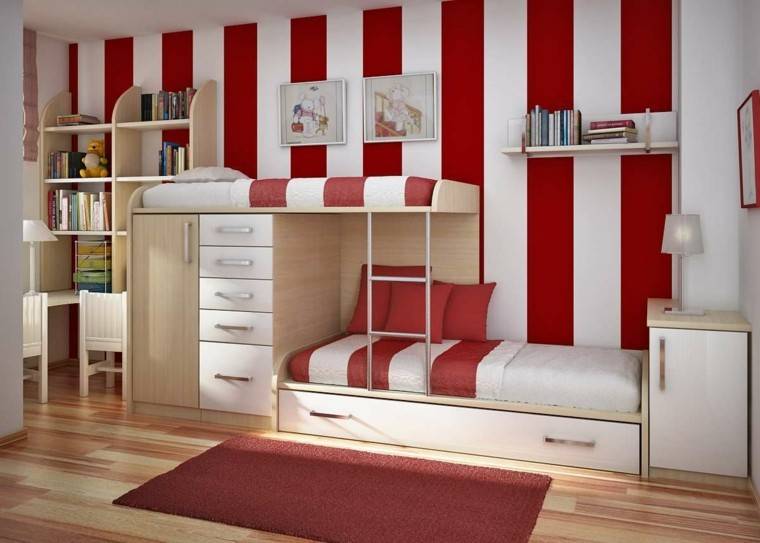 cuarto infantil rojo blanco bandas