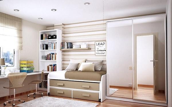 cuarto jven moderno beige espejos dormitorio juvenil espacioso