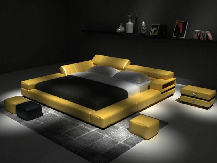 cuarto moderno amarillo negro piel