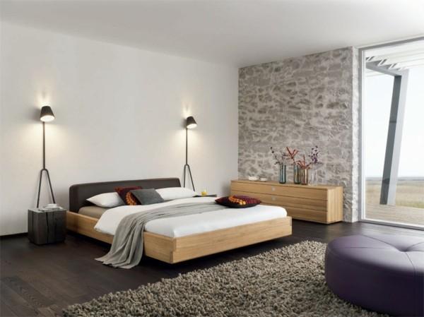 cuarto moderno cama madera pared piedra