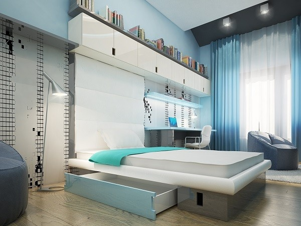 cuarto moderno juvenil color celeste