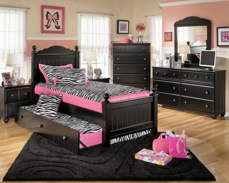 cuarto rosa negro zebra cama doble