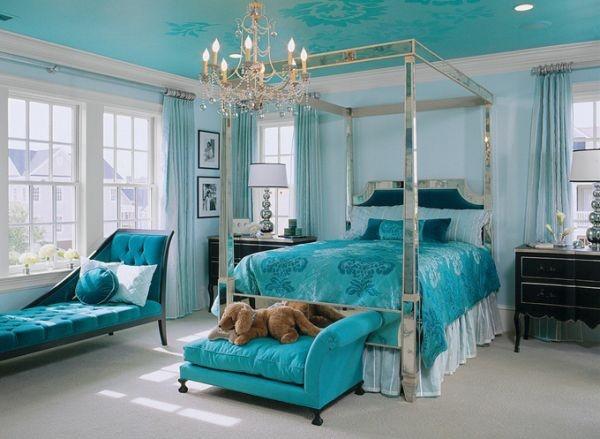 cuarto turquesa cama lujosa lámpara