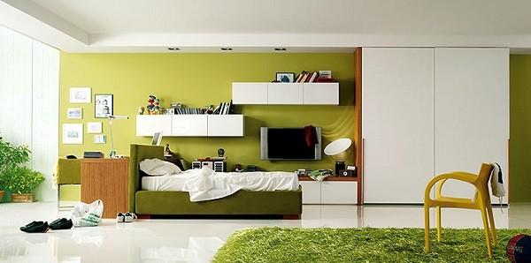 cuarto verde lima adolescente alfombra