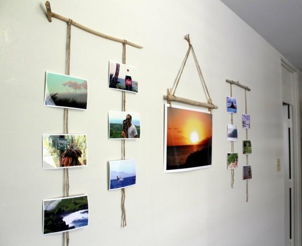 cuelgafotos palos madera flotante pared