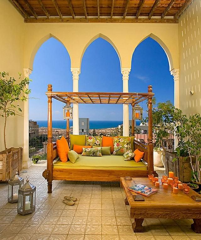 decoración árabe arcos grandes naranja