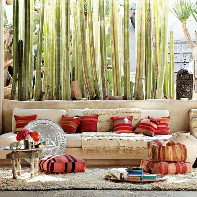 decoracin rabe con plantas y cojines