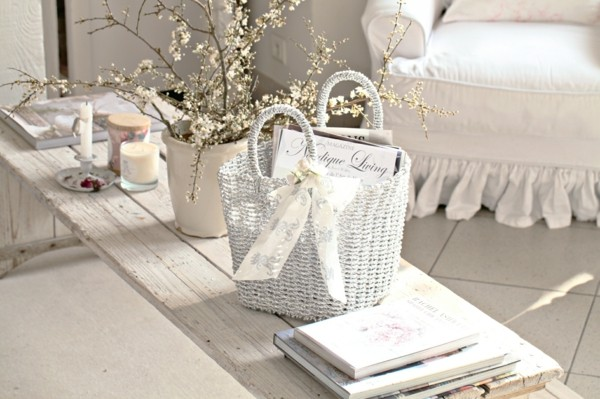 decoración blanca shabby chic cesta
