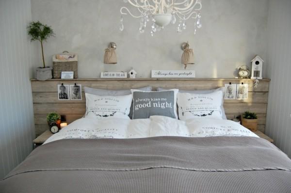 decoración cabecero cama madera gris