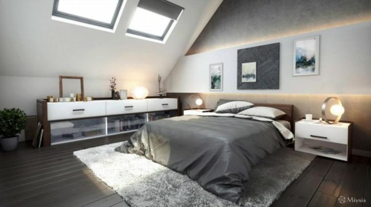 decoración diseño cuarto buhardilla gris