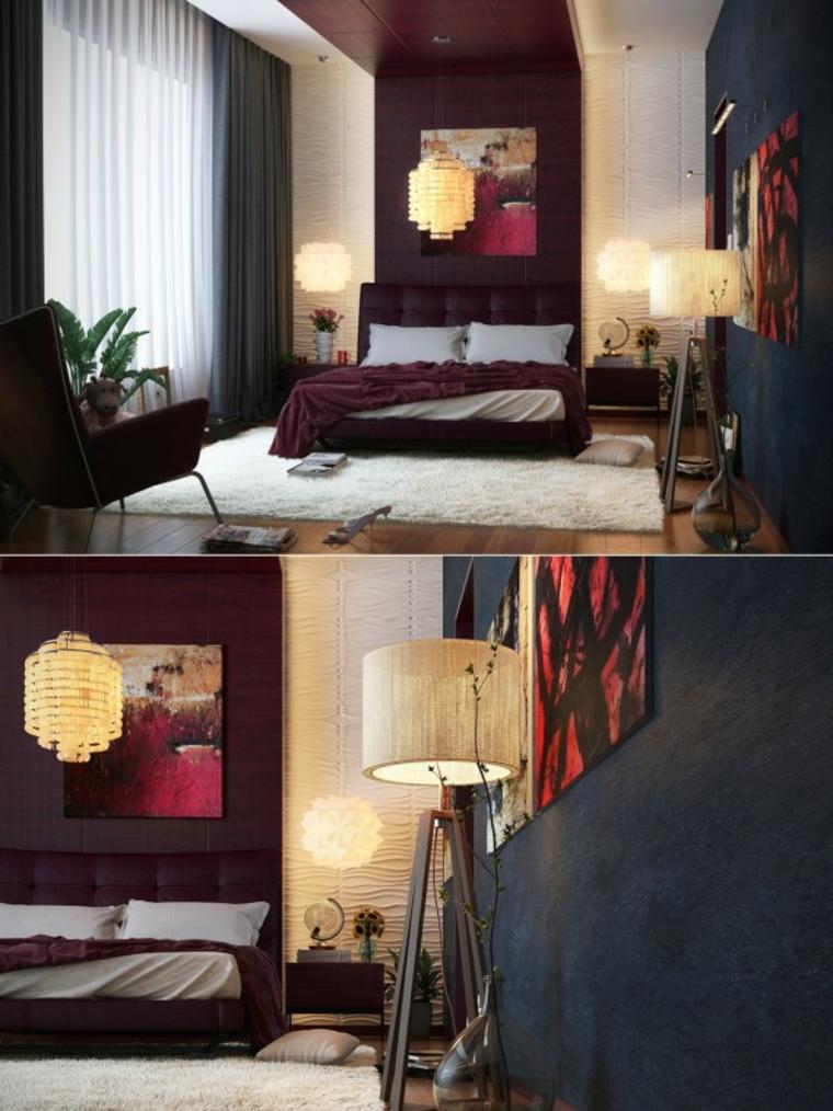 decoración diseño cuarto rojo negro