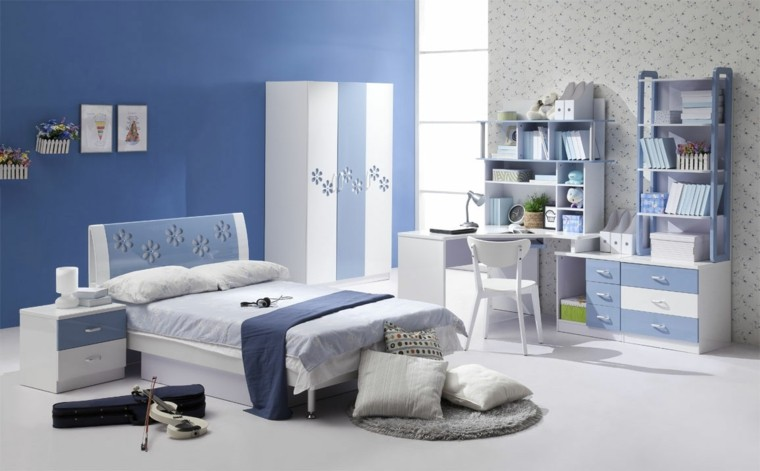 decoracin dormitorio azul violn elctrico