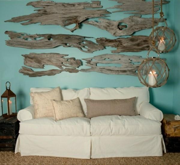 decoración salón madera flotante trozos