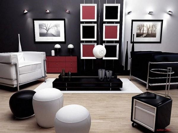 decoración salones color negro blanco