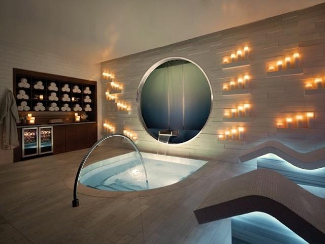 decoración de interiores baño zen velas iluminacion bonito