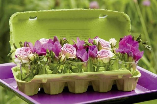 decoracion creativa envase huevos flores