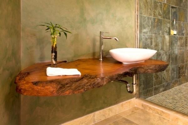 decoracion de baño lavabo madera