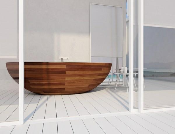 decoración de baños bañera madera