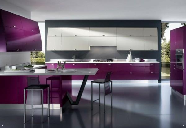 decoración de cocinas modernas violeta
