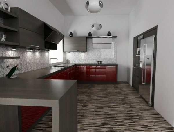decoración de cocinas parquet rojo