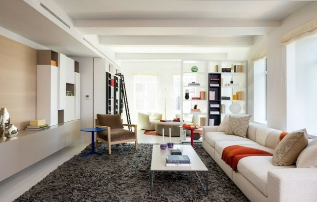 decoracion de interiores alfombra contraste muebles diseño