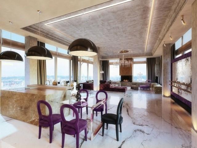 decoración de interiores dividido espacios cocina comedor salon