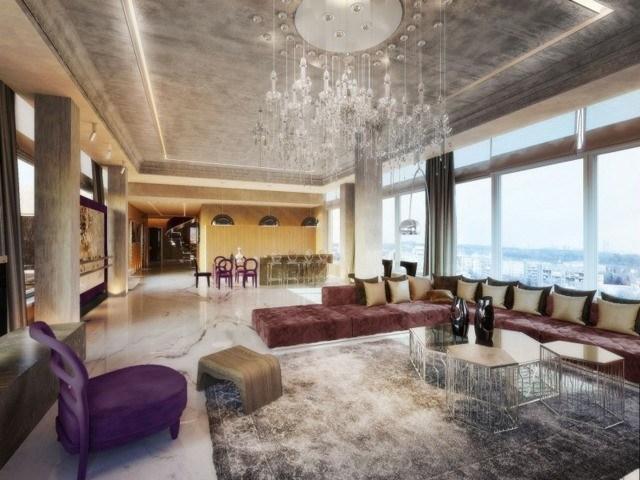 decoración de interiores salón amplio moderno espacioso ventanal