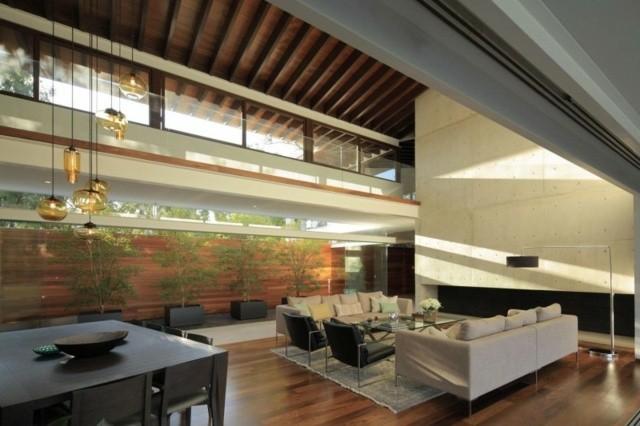 decoración de interiores techo alto plantas amplio madera