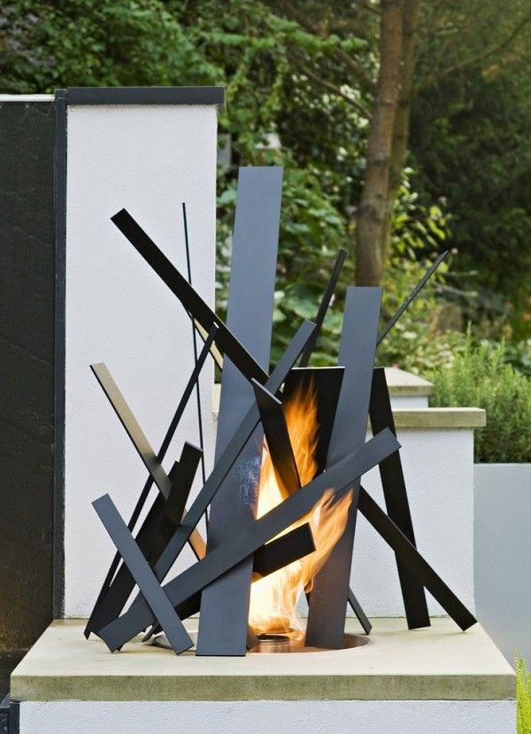 decoración de jardines hoguera exclusiva gas
