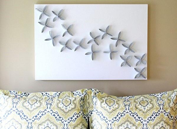 decoracion de paredes flores carton papel higienico moldeado sobre pieza papel