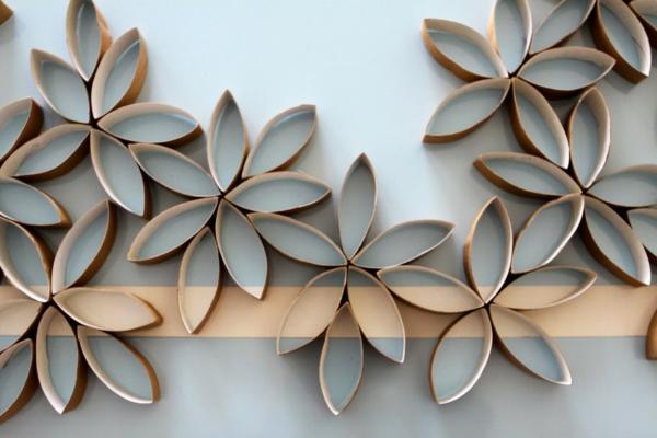 decoración de paredes flores carton
