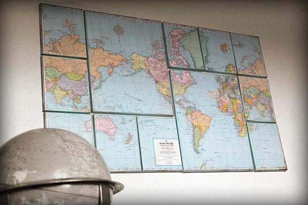 decoracion de paredes piezas mapa mundo laminado