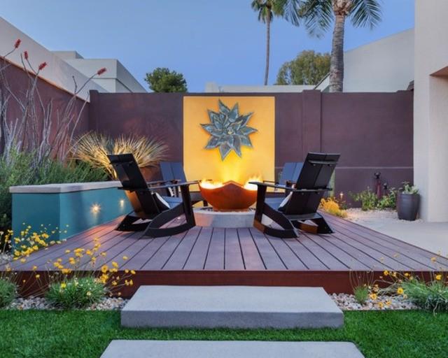decoración de terrazas en madera jardin patio muebles