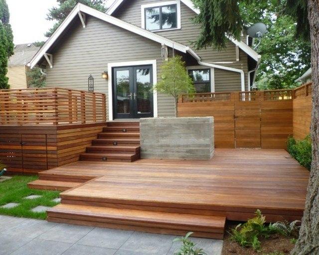 decoración de terrazas en madera jardin balcon