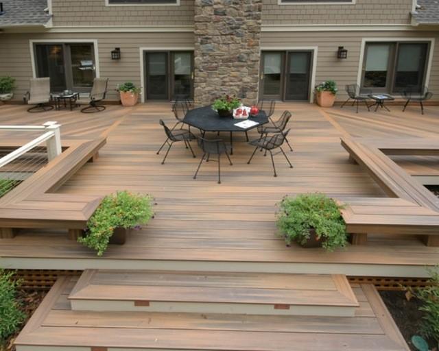 decoración de terrazas en madera muebles plataforma plantas