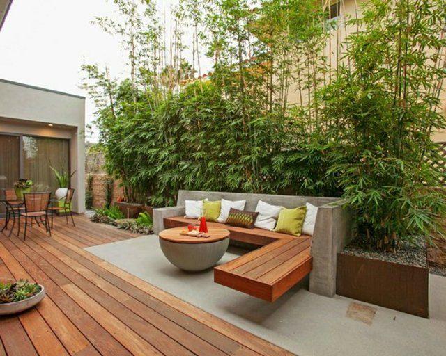 decoración de terrazas en madera patio bambu mesa