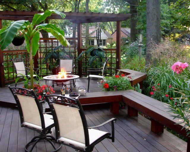 decoración de terrazas en madera patio mobiliario jardin flores