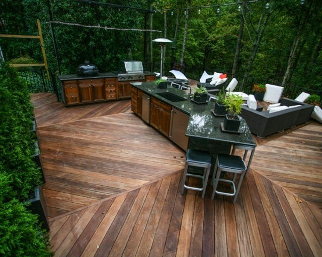 decoración de terrazas en madera patio trasero cocina