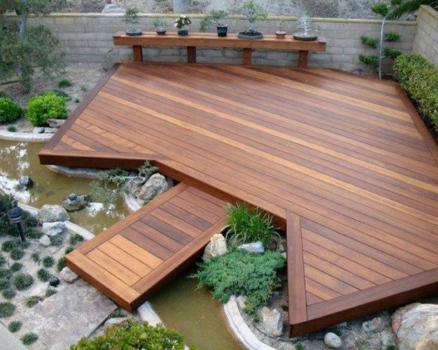 decoración de terrazas en madera puente madera lago