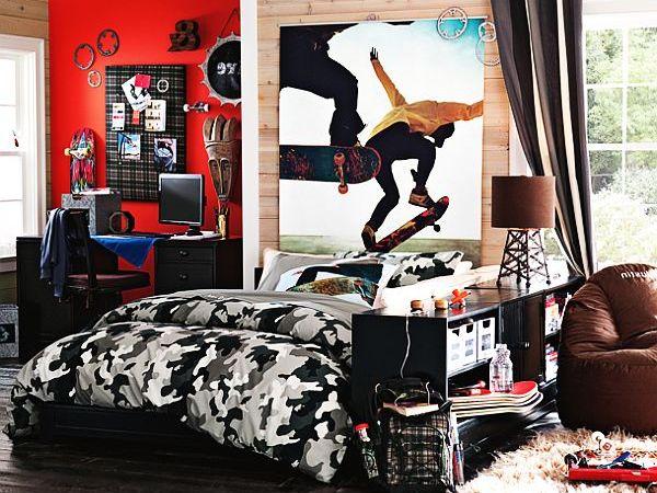 decoración de dormitorios colores oscuros skate