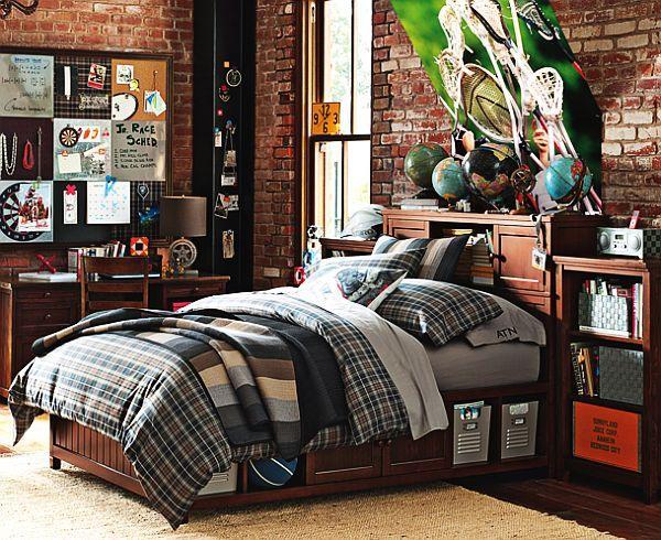 decoración de dormitorios pared ladrillos escritorio madera