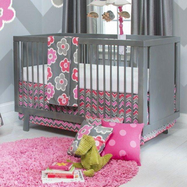 decoracion elegante moderna habitacion nia cuna gris