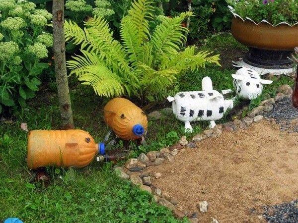 decoracion envases plastico animales helecho